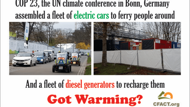 Diesel powered electric cars at the UN climate conference