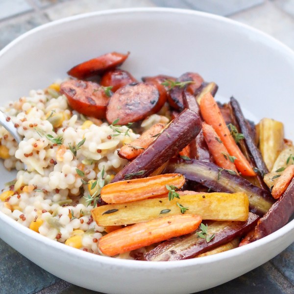 Healthy Dinner in a Pinch: Chicken Sausages with Roasted Vegetables
