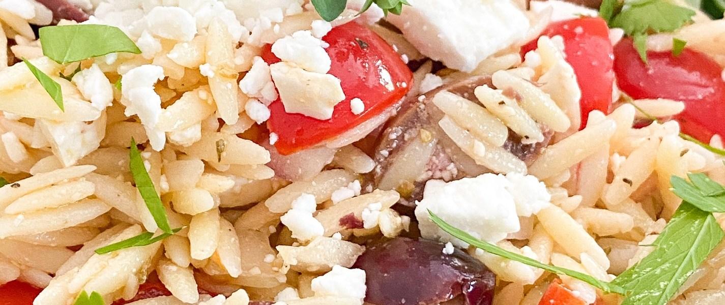Copycat Trader Joe's Mediterranean Orzo Spinach Salad
