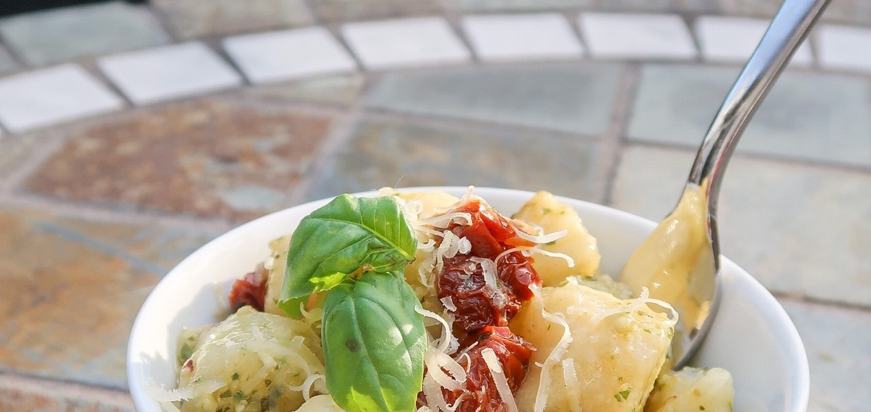 Cauliflower Gnocchi with Sun dried Tomatoes & Pesto