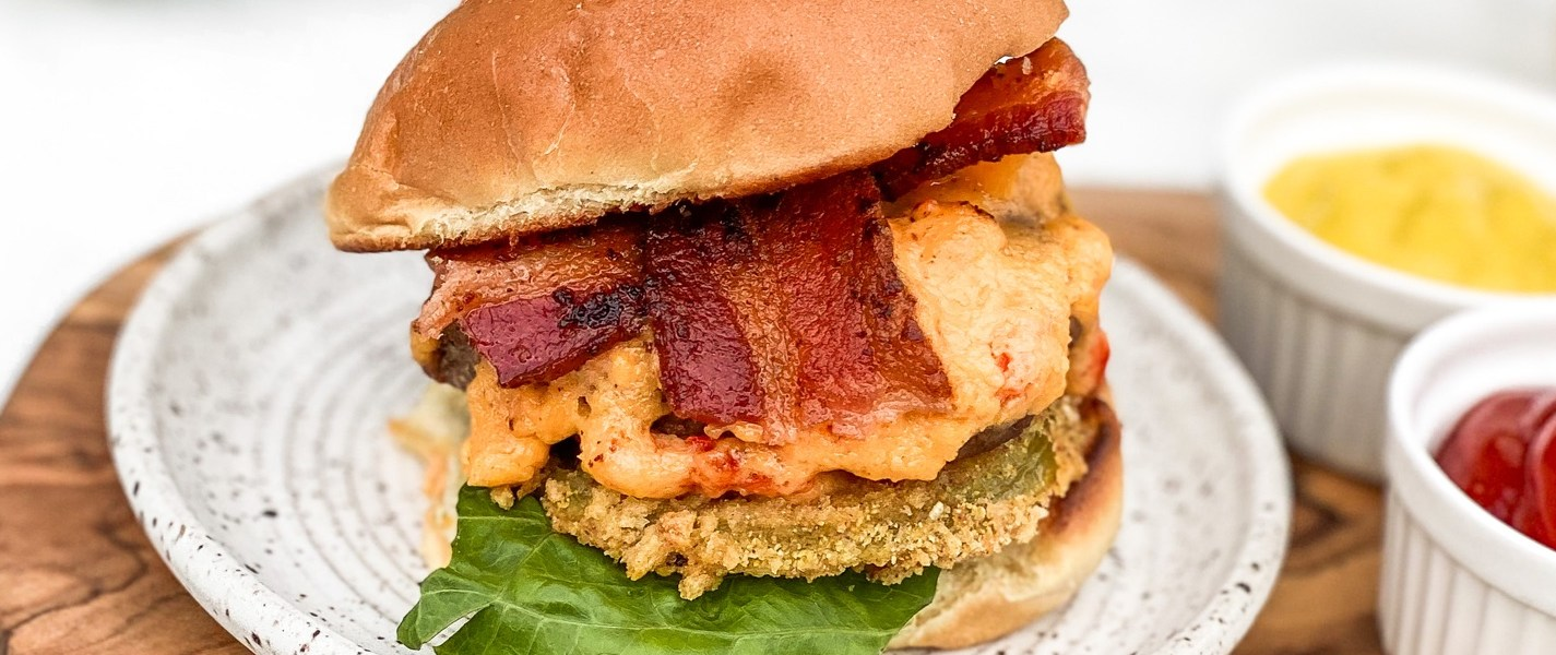 Pimento Cheese Sliders with Fried Green Tomatoes