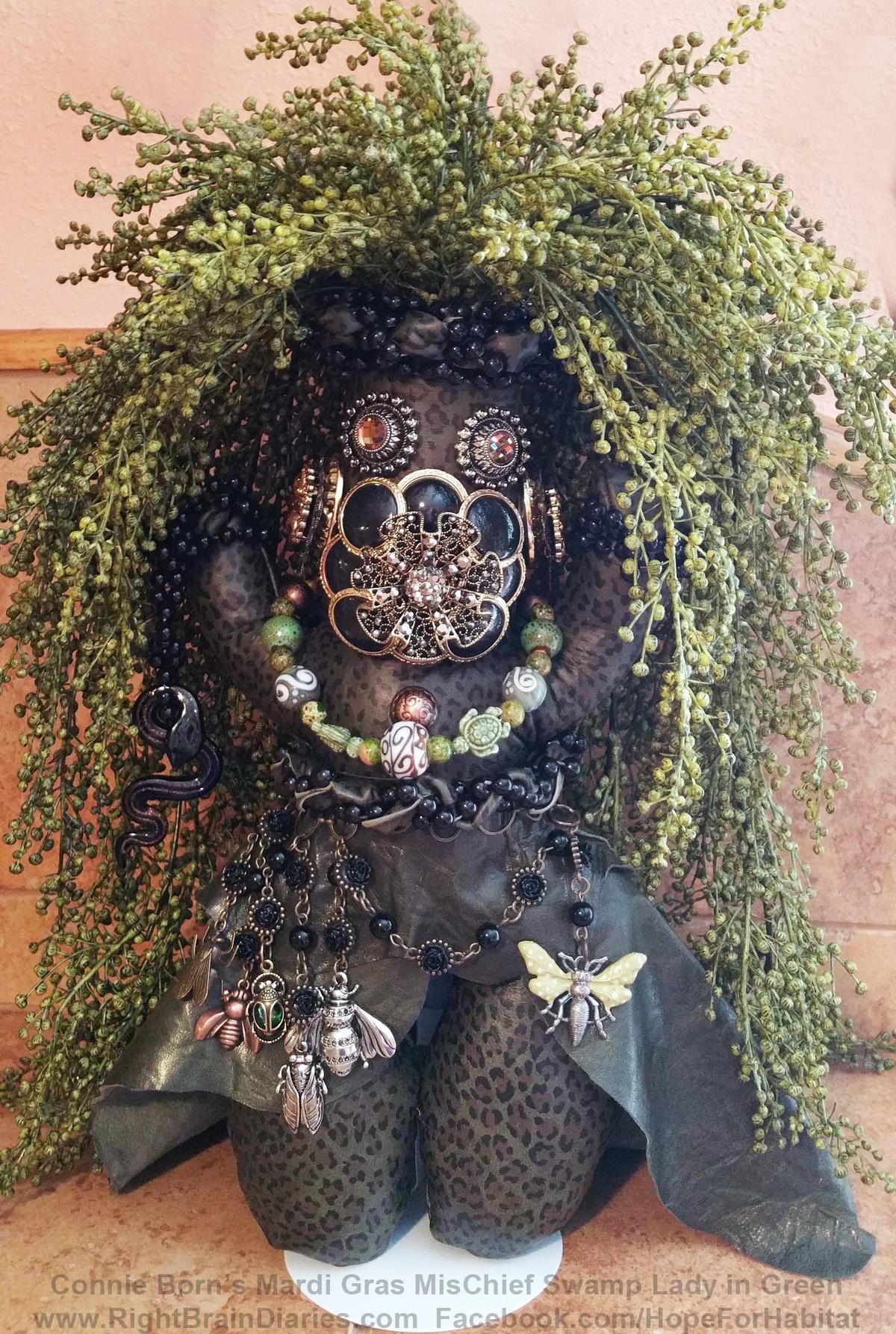Mardi Gras MisChief Swamp People Lady in Green – Connie Born, artist