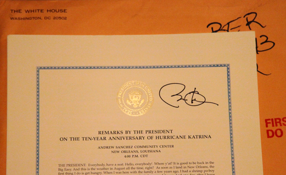 Unexpected mail from the White House