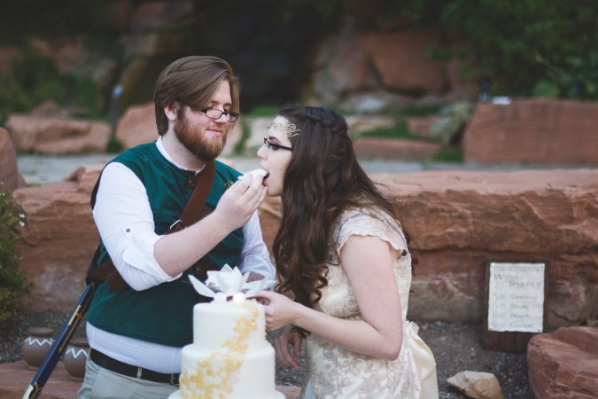 Bride Eating Zelda Wedding Cake