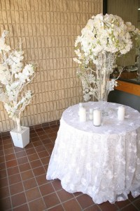 White Rose with Silver Sequins Overlay | Right Choice Linen