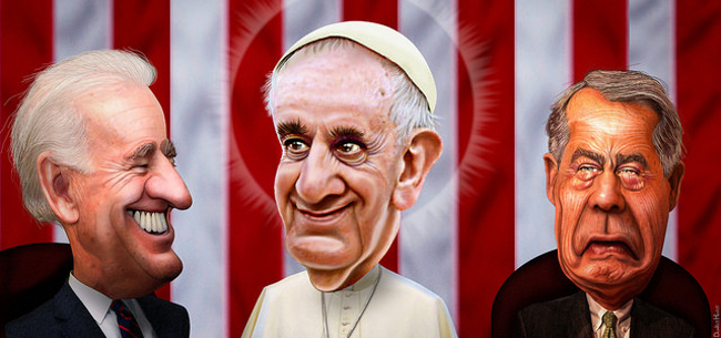 Pope Francis speaks to John Boehner, September 2015 by DonkeyHotey