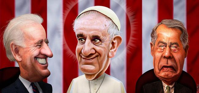 Pope Francis speaks to John Boehner, September 2015 by DonkeyHotey