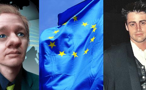 RD E33, Julian Assange, EU Flag, Matt LeBlanc