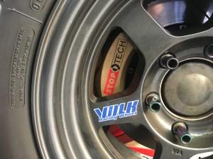 Volk wheel without center cap installed on truck
