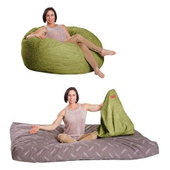 Bean Bag Chair Bed Round Table And Set Full Size Lime Corduroy Converts To A