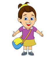 smiling young girl arms stretched out with school bag clipart