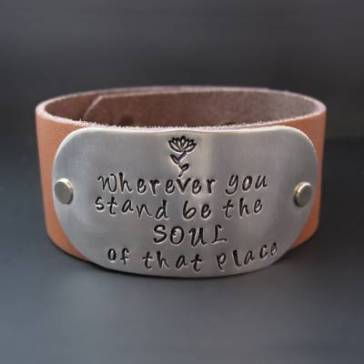 Rumi-Quotes-about-Beauty-Wherever-You-Stand-Leather-Cuff