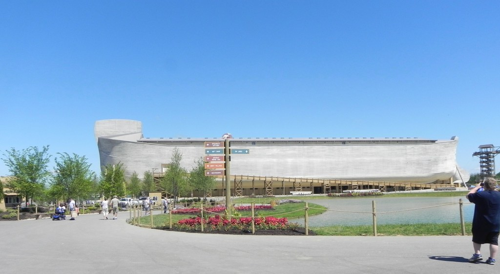 This image shows the full length of the Ark Encounter, a large replica of Noah's Ark.