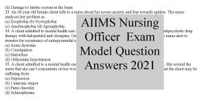 AIIMS Nursing Officer Exam Model Question Paper