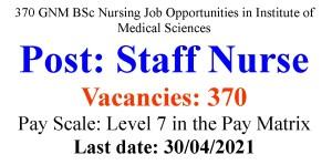 Staff Nurse Job Opportunities for GNM BSc Nurses-370 Vacancies