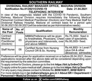 Southern Railway Staff Nurse Jobs 2021