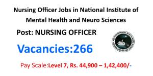 NIMHANS 266 Nursing Officer job opportunities 50000 Salary