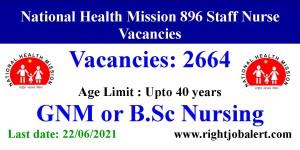 2664 Staff Nurse Vacancies National Health Mission