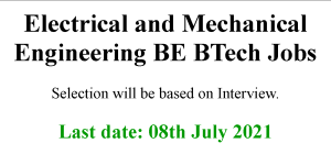 Electrical and Mechanical Engineering BE BTech Jobs