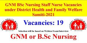 GNM BSc Nursing Staff Nurse Jobs under NHM