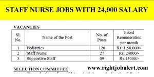 27 Staff Nurses Recruitment with 24000 Salary