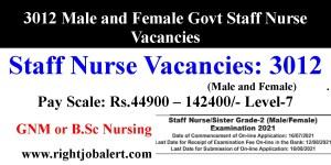 3012 Male and Female Govt Staff Nurse Vacancies