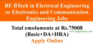 BE BTech in Electrical Engineering or Electronics and Communication Engineering Jobs