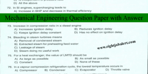 Mechanical Engineering Solved Question Paper-100 Questions