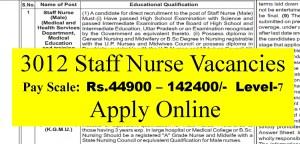 3012 Staff Nurse Vacancies 44900-142400 pay Scale