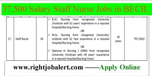 37500 Salary Staff Nurse Jobs in BECIL