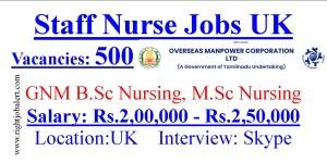 500 GNM BSc MSc Nursing Vacancies in UK 200000-250000 Monthly Salary