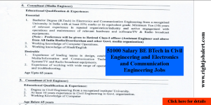 51000 Salary BE BTech in Civil Engineering and Electronics and Communication Engineering Jobs