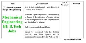 BE B.Tech Mechanical Engineering Trainee Job Vacancies