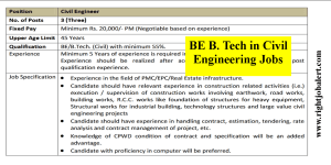 BE BTech in Civil Engineering Jobs- Salary Negotiable