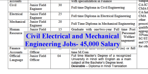 Civil Electrical and Mechanical Engineering Jobs- 45000 Salary