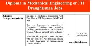 Diploma in Mechanical Engineering or ITI Draughtsman Jobs