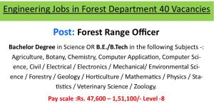 Engineering Jobs in Forest Department 40 Vacancies