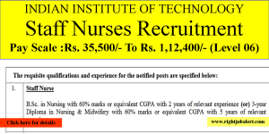 IIT Staff Nurse Jobs 35000-112400 Pay Scale
