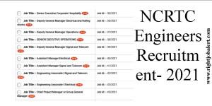 NCRTC Engineers Recruitment- 2021