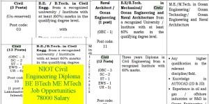 NIOT Civil Engineering Diploma BE BTech ME MTech Job Opportunities 78000 Salary