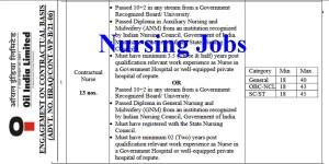 Oil India Limited Nurses Recruitment -13 Vacancies