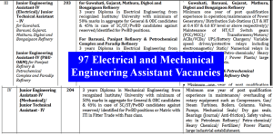 97 Electrical and Mechanical Engineering Assistant Vacancies