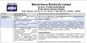 BE B Tech in Civil Engineering jobs in BHEL- 71040 Salary Per month