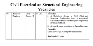 Civil Electrical an Structural Engineering Vacancies- Advt 5