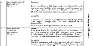 Civil and Electrical Junior Engineer Vacancies 2021