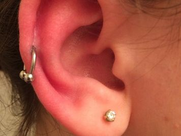 auricle and lobe piercing