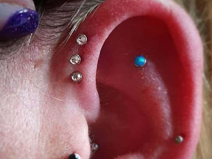 diamond triple forward helix piercing