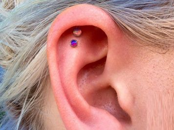 double cartilage piercing images