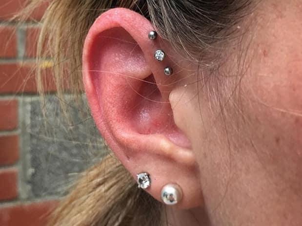 small stud triple forward helix piercing