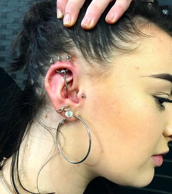 trident piercing on small ear